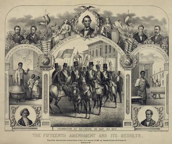 History Poster featuring the photograph The Fifteenth Amendment Banning Voting by Everett