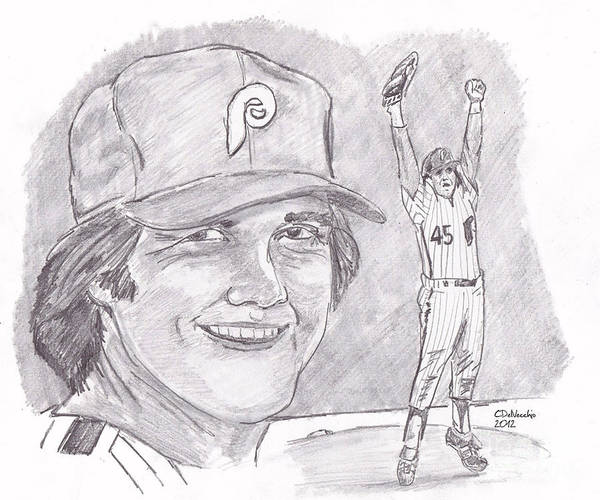 Phillies Poster featuring the drawing Tug Mcgraw by Chris DelVecchio