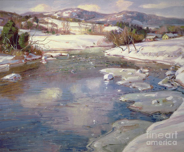 Winter Poster featuring the painting Valley Stream In Winter by George Gardner Symons
