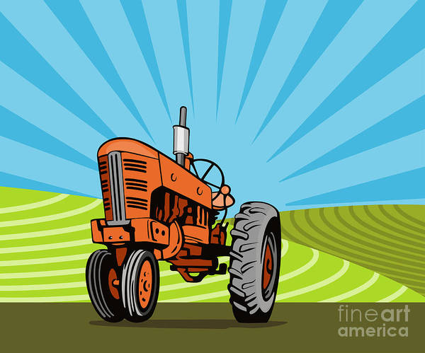 Tractor Poster featuring the digital art Vintage Tractor Retro by Aloysius Patrimonio