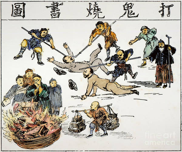 1890 Poster featuring the painting China: Anti-west Cartoon by Granger