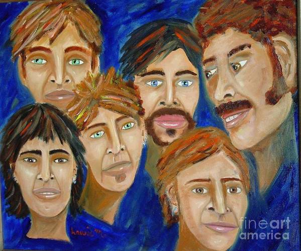 Portrait Poster featuring the painting 70s Band Reunion by Laurie Morgan