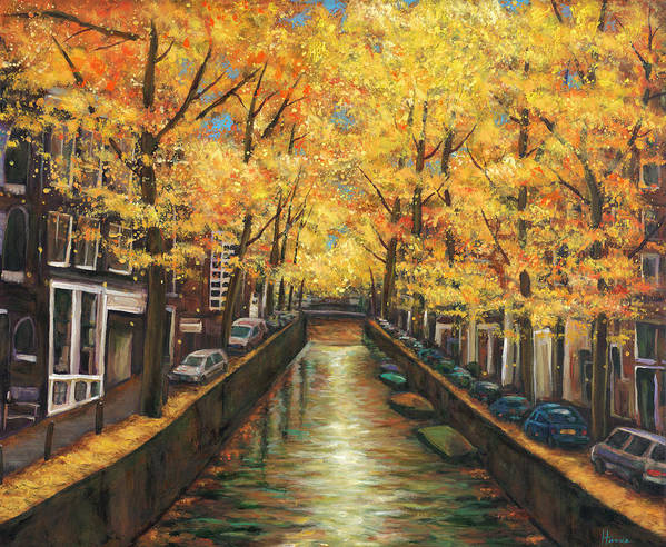 Amsterdam Poster featuring the painting Amsterdam Autumn by Johnathan Harris