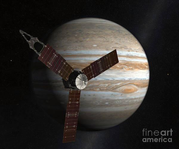 Planetary Science Poster featuring the digital art Artists Concept Of The Juno Spacecraft by Stocktrek Images