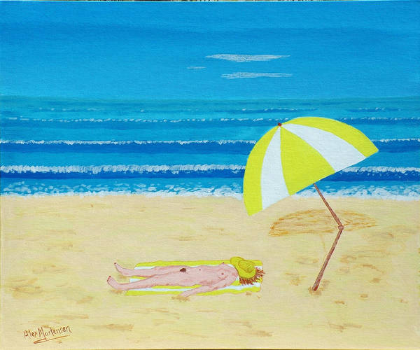 Nude Poster featuring the painting Beach Babe With All She Needs by Alex Mortensen