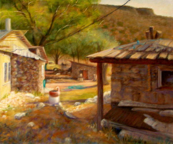 Realism Poster featuring the painting Below Taos 1 by Donelli DiMaria