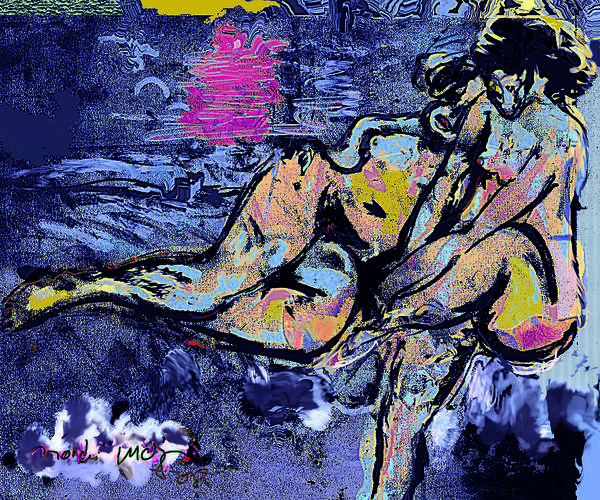 Nude Poster featuring the painting Between Us IIi by Noredin Morgan