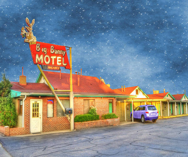 Big Bunny Motel Poster featuring the photograph Big Bunny Motel by Juli Scalzi