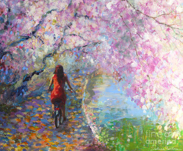 Spring Blossoms Alley Painting Poster featuring the painting Blossom Alley Impressionistic Painting by Svetlana Novikova