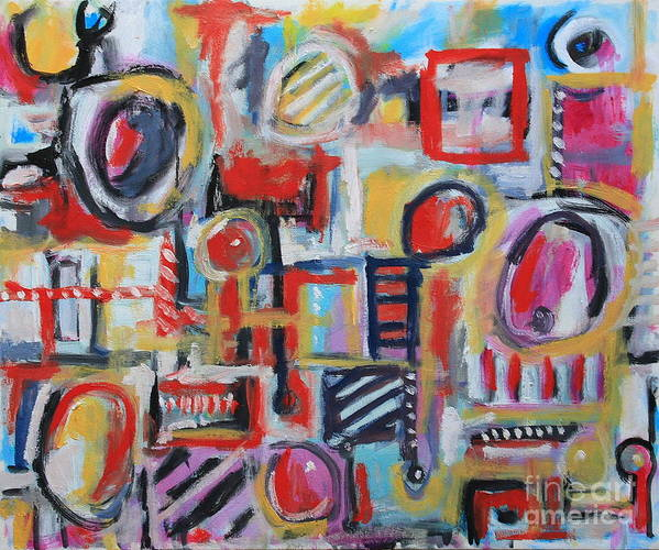 Abstract Art Poster featuring the painting Box Of Junk by Michael Henderson