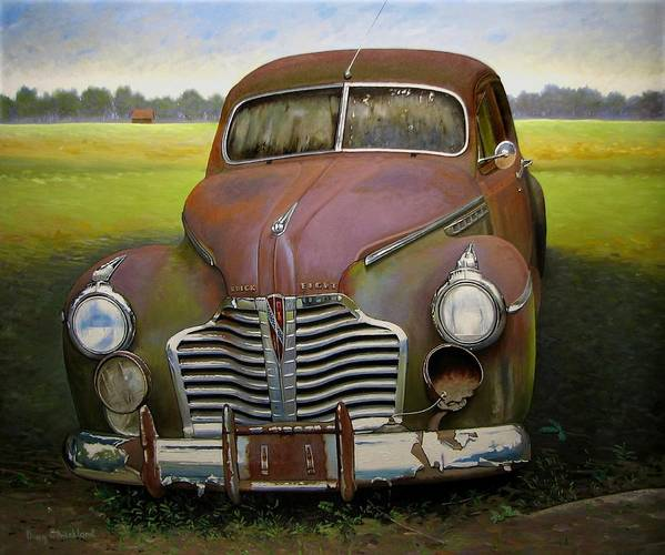 Doug Strickland Poster featuring the painting Buick Eight by Doug Strickland