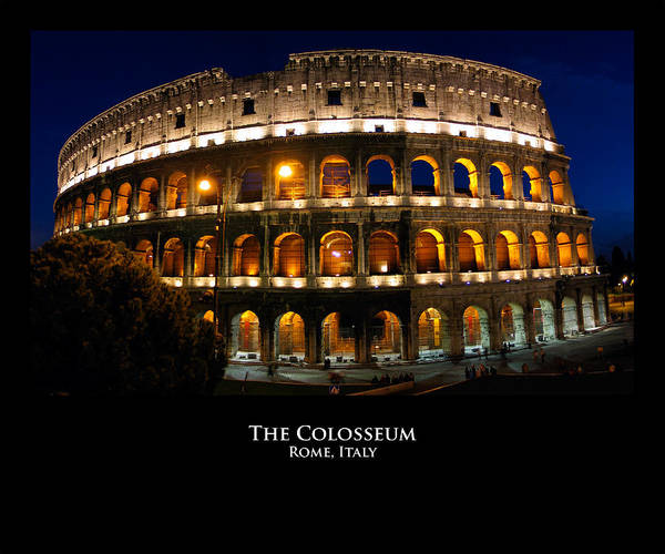 Italy Poster featuring the photograph Colosseum At Night by Alan Zeleznikar