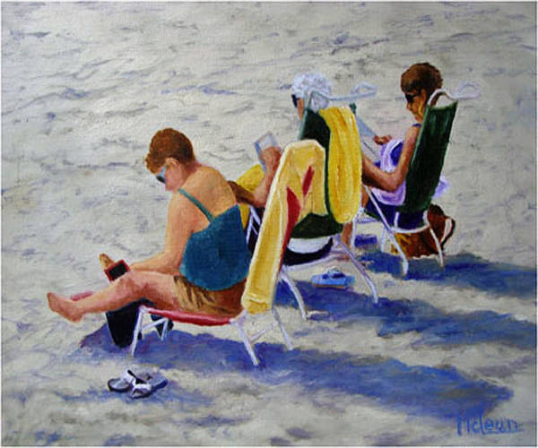 Figures Poster featuring the painting Girls Day At The Beach by Fran Rittenhouse-McLean