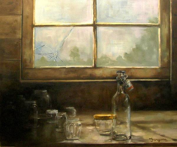 Glass Poster featuring the painting Glass Jars By Window by Tom Forgione