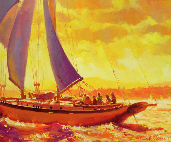 Sailing Poster featuring the painting Golden Opportunity by Steve Henderson