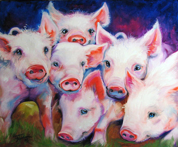 Pig Poster featuring the painting Half Dozen Piglets by Marcia Baldwin