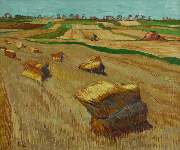 Landscape Poster featuring the painting Haystacks In Moravia by Vitali Komarov