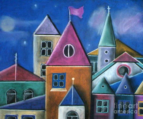 Houses Poster featuring the pastel Houses by Caroline Peacock