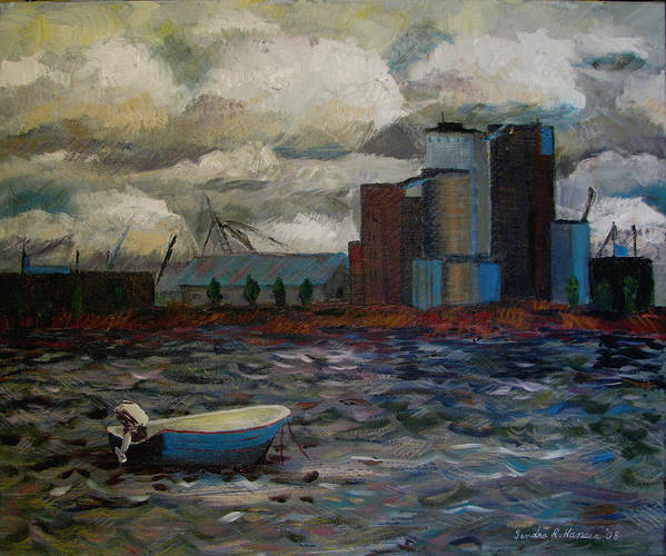 Industry Poster featuring the painting Industrial Fishing by Art Nomad Sandra Hansen