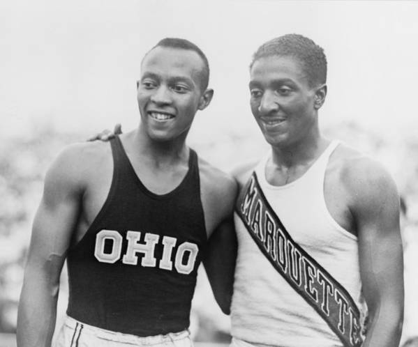 History Poster featuring the photograph Jesse Owens 1913-1980 With Ralph by Everett