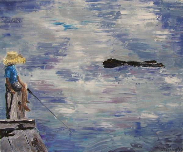 Boy Poster featuring the painting Me Time by Jeni Westcott