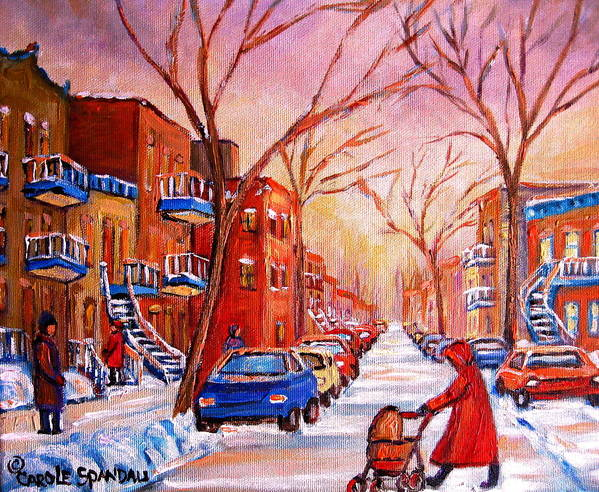 Montreal Poster featuring the painting Out For A Walk With Mom by Carole Spandau