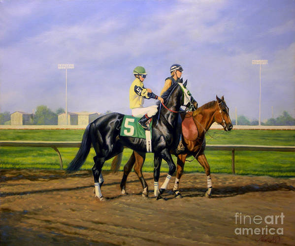 Horse Poster featuring the painting Post Parade by Jeanne Newton Schoborg