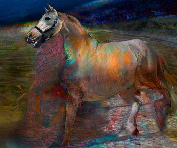 Horse Poster featuring the digital art Running Horse by Henriette Tuer lund