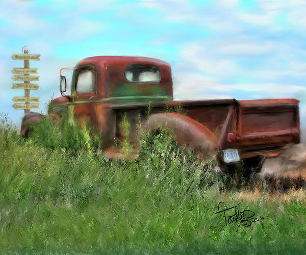 Rusted Out Trucks Poster featuring the painting Rusted Not Retired by Colleen Taylor