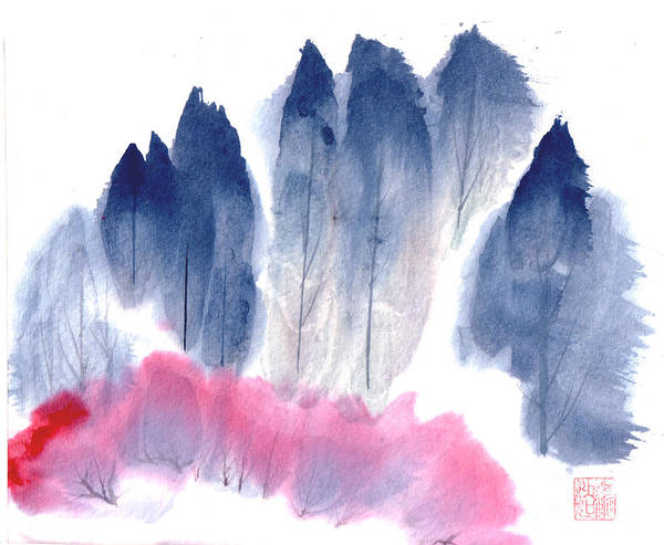 A Forest With Red Blooming Bushes In Spring. This Is A Contemporary Chinese Ink And Color On Rice Paper Painting With Simple Zen Style Brush Strokes.  Poster featuring the painting Spring Forest by Mui-Joo Wee