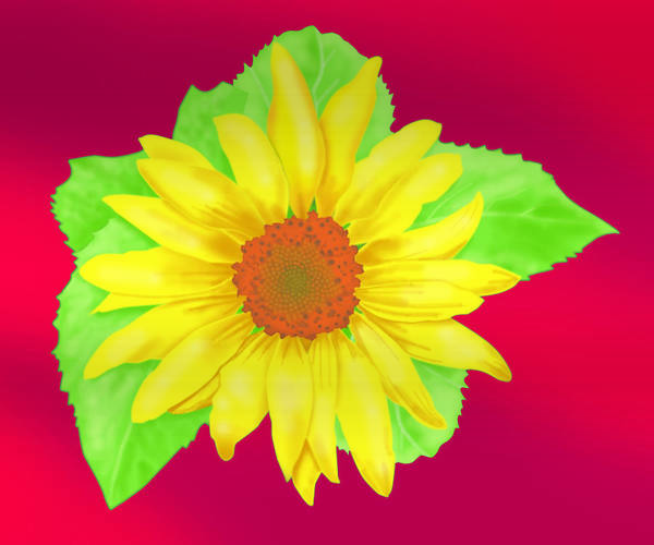 Wall Hanging Poster featuring the digital art Sunflower On Red Background by Larry Ryan