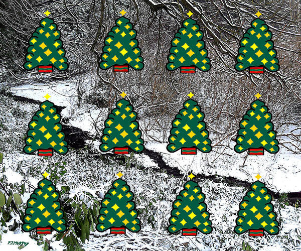 Christmas Poster featuring the mixed media Christmas Trees by Patrick J Murphy