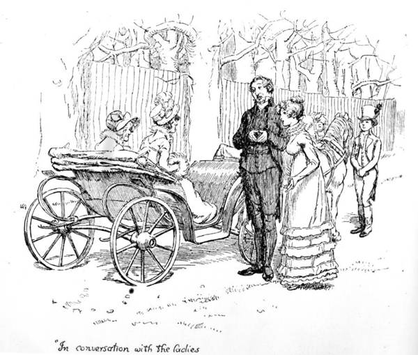 In Conversation With The Ladies; Illustration; Pride And Prejudice; Jane Austen; Edition; Illustrated; Mr;collins; Charlotte Lucas; Husband; Wife; Miss; De Bourgh; Mrs; Jenkinson; Phaeton; Lady Catherine De Bourgh; Elizabeth Bennet; Bennet's; Visit; Hunsford; Parsonage; Rosings; Pompous; Clergyman; Georgian; Regency; Costume; Carriage; Talking; De Bourgh's; Daughter Poster featuring the drawing Scene From Pride And Prejudice By Jane Austen by Hugh Thomson