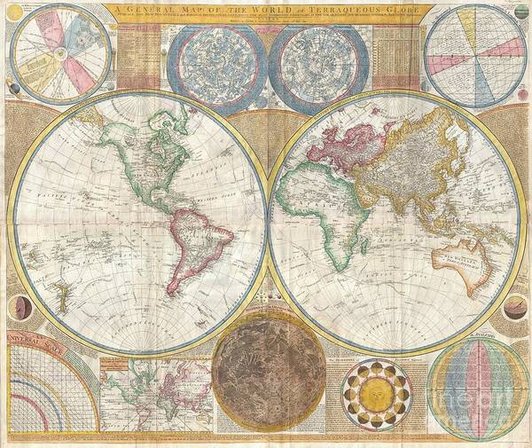 An Absolutely Stunning And Monumental Double Hemisphere Wall Map Of The World By Samuel Dunn Dating To 1794. This Extraordinary Map Is So Large And So Rich In Detail That It Is Exceptionally Challenging To Do It Full Justice In Either Photographic Or Textual Descriptions. Covers The Entire World In A Double Hemisphere Projection. The Primary Map Is Surrounded On All Sides But Detailed Scientific Calculations And Descriptions As Well As Northern And Southern Hemisphere Star Charts Poster featuring the photograph 1794 Samuel Dunn Wall Map Of The World In Hemispheres by Paul Fearn