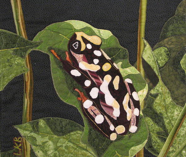 Art Quilts Tapestries - Textiles Poster featuring the tapestry - textile African Reed Frog by Lynda K Boardman