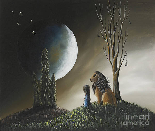 Moon Poster featuring the painting At Midnight By Shawna Erback by Shawna Erback