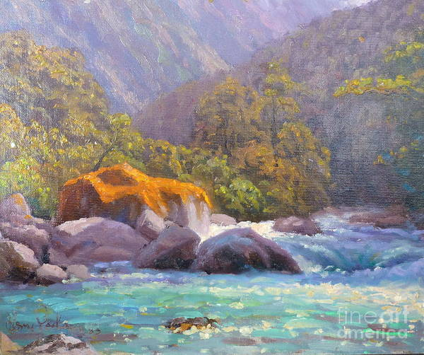 Rivers Poster featuring the painting Big Rocks Holyford River by Terry Perham