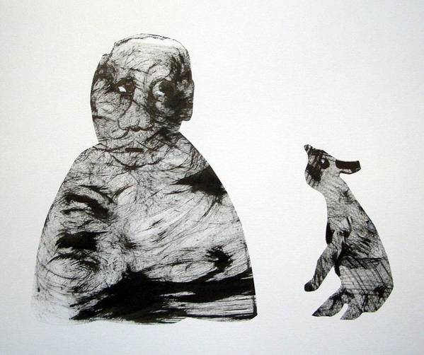 Cut & Paste Poster featuring the drawing Can't Hear You Well by Aquira Kusume