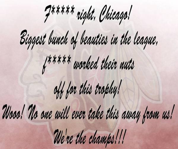 Chicago Blackhawks Crawford's Speech Poster featuring the digital art Chicago Blackhawks Crawford's Speech by Dan Sproul