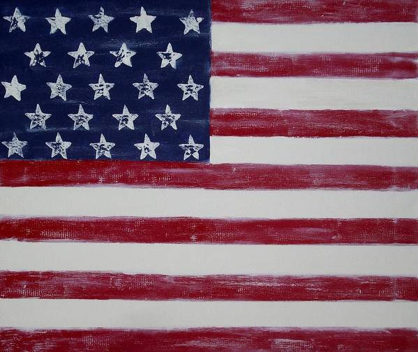 American Flag Poster featuring the painting Distressed American Flag by Holly Anderson
