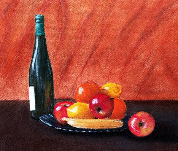 Malakhova Poster featuring the painting Fruits And Wine by Anastasiya Malakhova