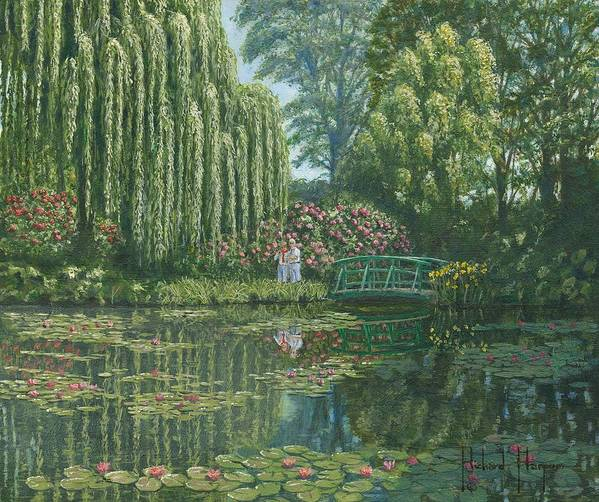 Landscape Poster featuring the painting Giverny Reflections by Richard Harpum