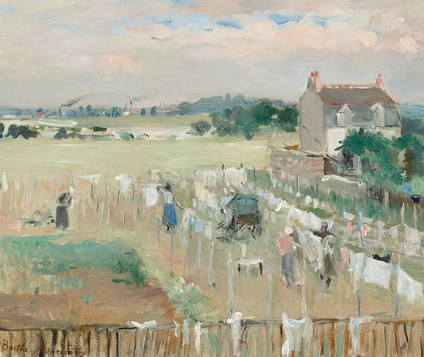 Hanging; Laundry; Dry; Drying; Washing; Clothes; Clothing; Domestic; Task; Tasks; Women; Female; Laundress; Laundresses; Rural; Countryside; Landscape; Summer; Sunshine; Idyllic; Provincial; Contrast; Industrial; Landscape; Distance; Horizon; Smoking; Chimney; Chimneys; Factory; Factories; Industrialisation; Encroaching; Loose; Handling; French; Impressionist; Impressionism; Industrialization; Farm; Grass; Field; Berthe; Morisot; Chores; Home; House; Country; Quotidian; Tint; Shade; Shading Poster featuring the painting Hanging The Laundry Out To Dry by Berthe Morisot
