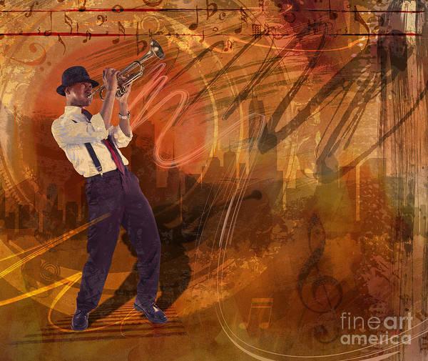 Jazz Poster featuring the digital art Jazz Nrg by Bedros Awak