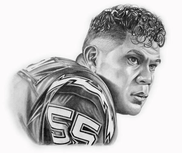 Jr Poster featuring the drawing Junior Seau by Don Medina