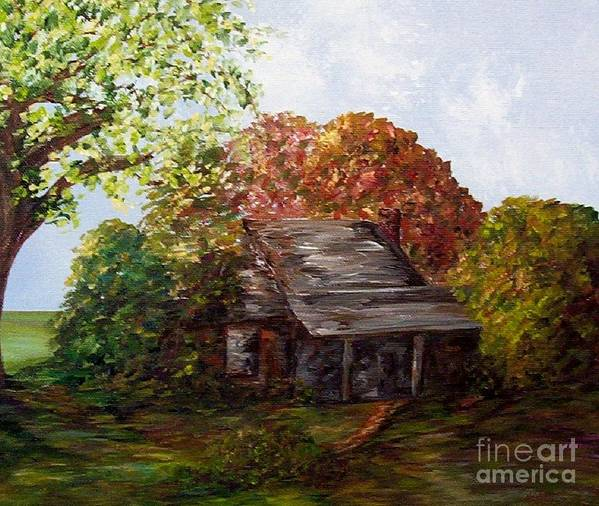 Log Poster featuring the painting Leaves On The Cabin Roof by Eloise Schneider