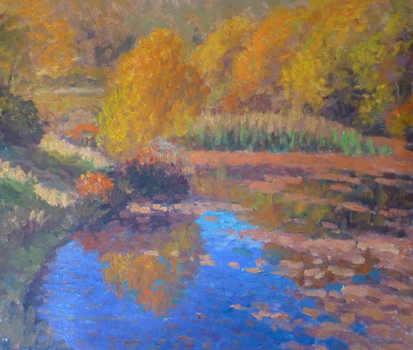 Pond. Poster featuring the painting Monets Pond. Whitechapple by Terry Perham
