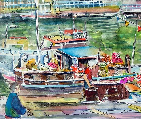 Boat Poster featuring the painting Paris House Boat by Mindy Newman