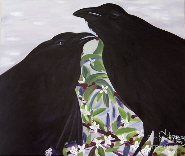 #raven Poster featuring the painting Ravens Song by Jacquelinemari