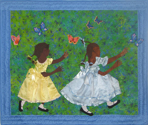 Children Playing Poster featuring the tapestry - textile Simple Play by Aisha Lumumba